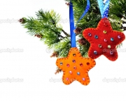 Christmas decorations on a Christmas tree star handmade fleece