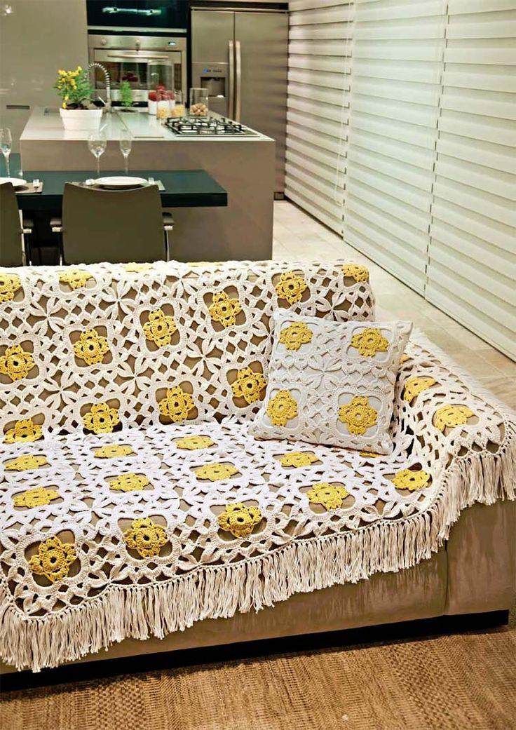 Mantas para sof de croch artesanato cultura mix - Mantas de ganchillo para sofas ...