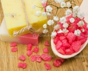 Aromatic bath salt, natural handmade herbal soap and flower